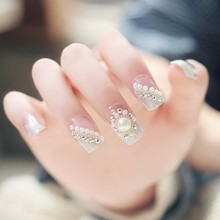 fake nails False nail Finished manicure nails tips for Flower White pearl nail art tools(China)