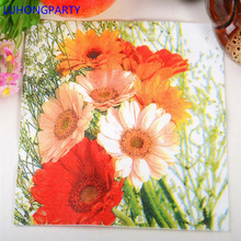 40pcs=2packs Cozy Flower Napkin Paper 100% Virgin Wood colorful flower Tissue Party coffee shop Decoration LUHONGPARTY(China)