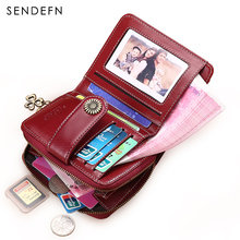 Split Leather Short Wallet Women Small Purse Female Wallets SENDEFN 2017 New Quality Retro Women's Coin Purses Card Holder(China)