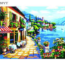The Mediterranean Sea Diy Digital Oil Painting By Numbers Hand Paint Canvas Drawing Pictures Wall Sticker Home Decoration(China)