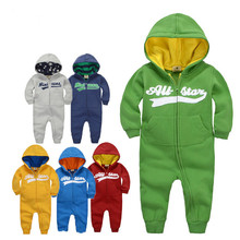 New brands Baby Girl Boy Spring Clothes Warm Romper Baby Rompers AutumnNewborn Winter Coverall Hooded Baby Outdoor Clothing(China)