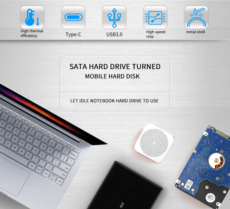 Case Hd Externo Sata to USB Type C 3.1 HDD Box HDD 2.5 External Hard Drive Case Aluminum Hdd Box /Caddy for 9.5MM 1TB Hard Disk