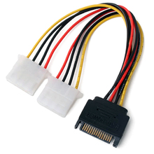 1PCS 15 Pin SATA Male to 2 IDE Splitter Female Power Cable #2449(China)