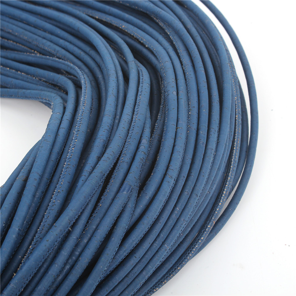5mm round dark blue cork cord Portuguese natural cork wholesale jewelry supplies /Findings Cor-164(Portugal)