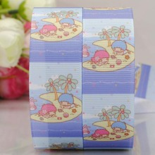 free shipping 50 yards lovely blue little twin stars printed grosgrain ribbons cartoon ribbons LTS0029