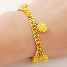 Fascinating and Trendy Women Ladies Wedding Party Jewelry Accessories 24k Gold Heart Shape Link Chain Bracelet(China)