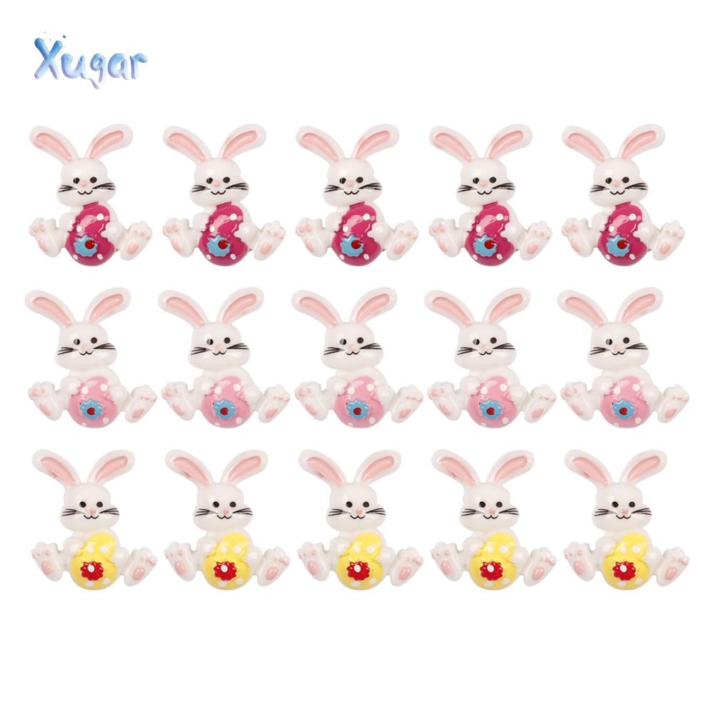 10pcs 2530mm Cute Easter Bunny Rabbit Resin
