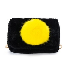 Faux fur plush children school bags kids travel chain messenger crossbody small phone pouches money bags for kindergarten girls(China)