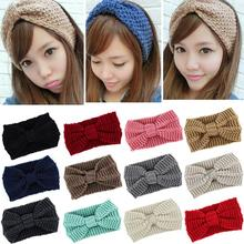 Fashion 12 Colors knit headband crochet winter warmer lady hairband Hair Band headwrap Women Ear Warmer Hair Muffs Band F05(China)