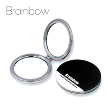 Brainbow 1piece Portable Makeup Mirror Round Shaped Pocket Mirror Compact Maquillaje 2 Times Magnify Cosmetic Mirror 3 Colors PU(China)