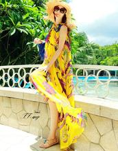2017 women summer Light yellow feather large print chiffon bohemia beach dress maxi long dress full dress