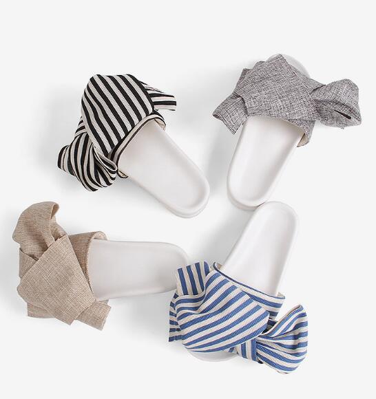 European Style Woman Sexy Shoes Blue Striped Big Butterfly-Knot Flat Slippers Flat Platform Open Toe Sexy Sandal Beachwear Shoes<br>