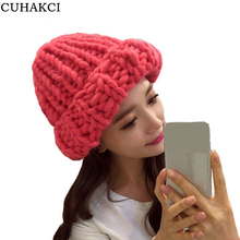 Women Winter Warm Hat Handmade Knitted Coarse Lines Cable Hats Knit Cap Candy Color Beanie Crochet Caps Woman Accessories M056