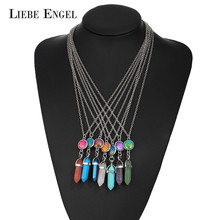 LIEBE ENGEL Vintage Bullet Quartz Crystal Necklace Mermaid Fish Scales Pendant For Women Necklace Jewelry Natural Stone(China)