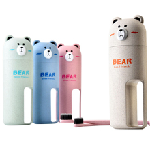 1pcs Wheat Bear Wash Bottle Set Toothbrush Toothpaste Storage Bottle Xmas Gift Bottle Outdoor Sport Drinkware Water Bottles(China)