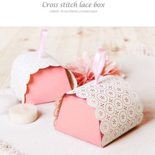 60 x Upscale Cross Stitch Lace Cake Box Pink Small Gift Party Favor Boxes Wholesale(China)