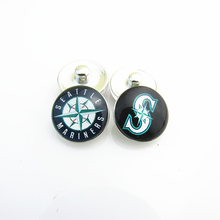 Fashion MLB Baseball Sports Seattle Mariners Mix 2 Logo 18mm Glass Snap Button Charms For DIY Snap Bracelets Jewelry