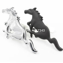 3D Silver Black Horse Logo Metal Alloy Car Auto Front Hood Grille Emblem Sticker Badge Nameplate for Mustang Universal New