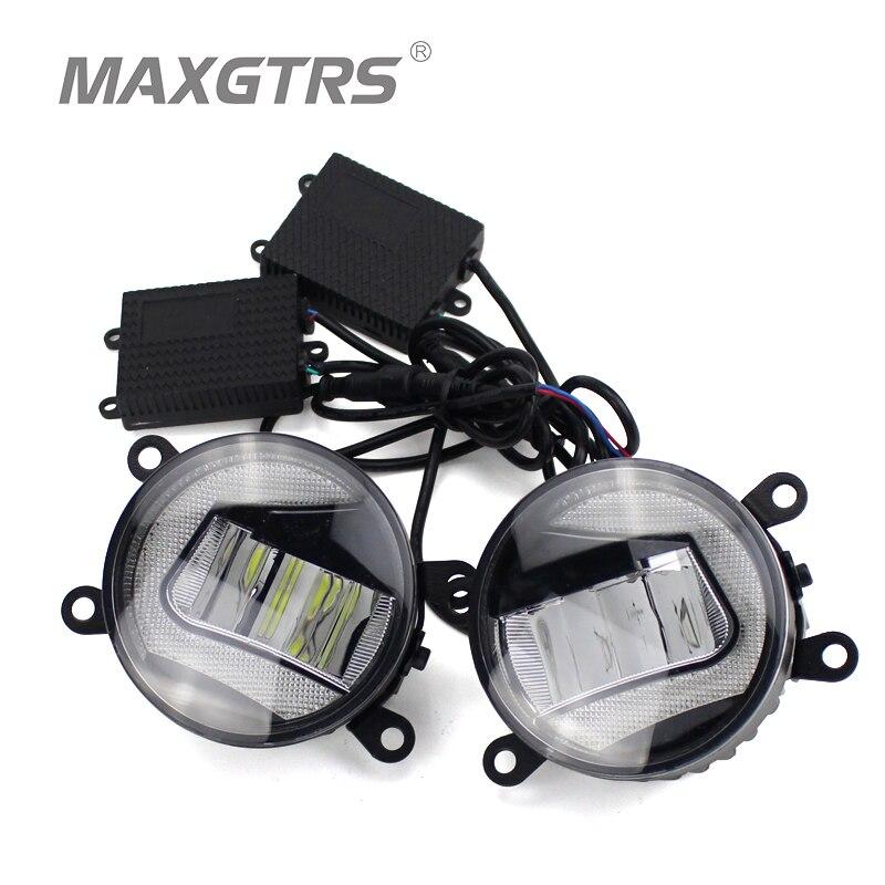 2x Universal Car Auto Front Bumper DRL COB LED Fog Bulb Lights Diameter 9cm Daytime Running Light Fog Lamps For Ford Toyota<br>