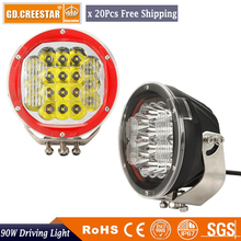 20pcs Factory Wholesale 7inch 90W Round 12V 24V LED Spot Driving Work Light For Atv 4x4 BOAT Off Road Head Light External Lamp
