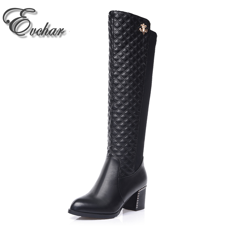 New Women Knee-High Boots pointed Toe  Zip  Square Heel Boots  thick heeL Women Fashion  Show thin elastic boots size 32-43<br>