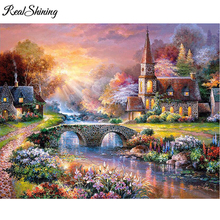 REALSHINING Mountain Villa Diamond Painting Cross Stitch Full Square Rhinestone Diamond Mosaic Custom Diamond Embroidery FS614(China)