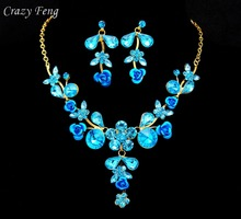 Crazy Feng Fashion Austrian Crystal Rhinestone Rose Flower Pendant Necklace Drop Earrings Wedding Women Jewelry Sets Wholesale(China)
