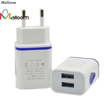 Malloom Smart Phones Quick Charge LED USB 2 Port Wall Home Travel AC Charger Adapter Compatible for iPhones For S7 EU Plug