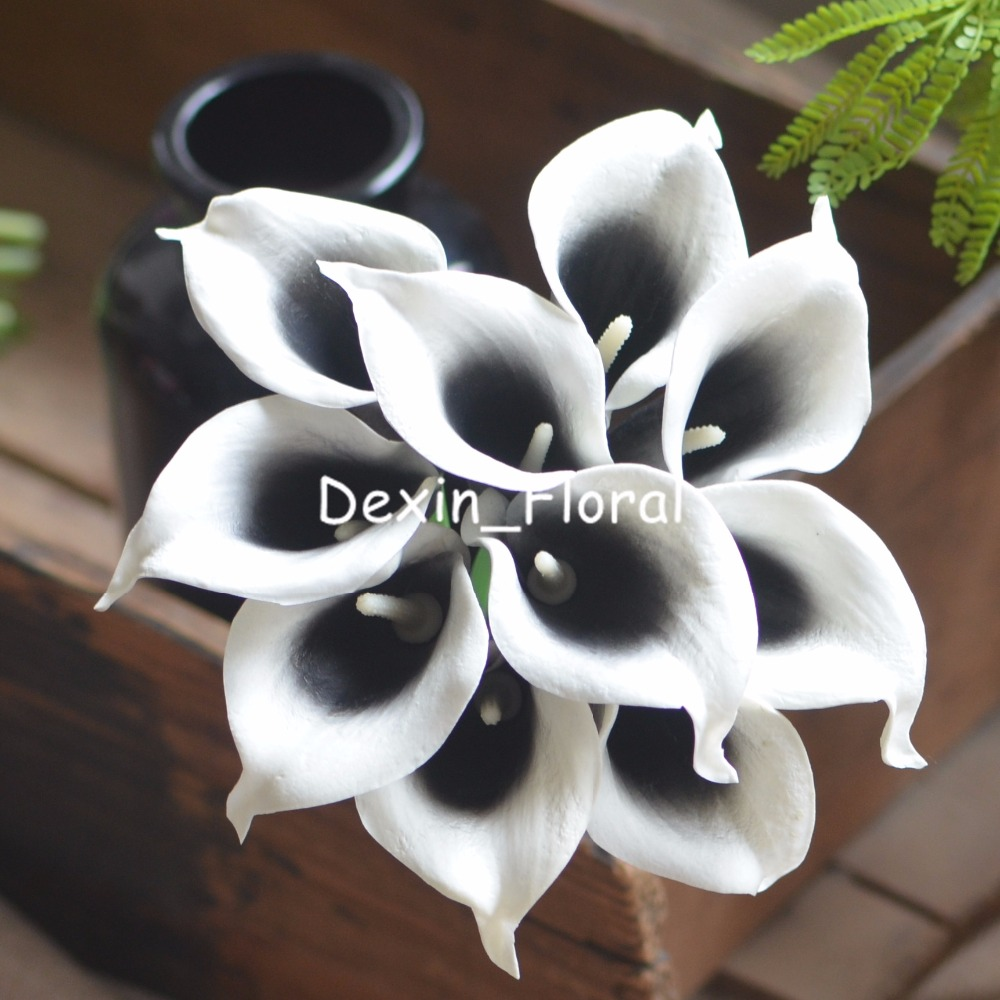 Aliexpress Buy Black Picasso Calla Lilies Real Touch Flowers
