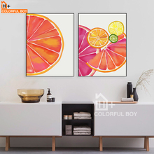 COLORFULBOY Modern Wall Art Poster And Prints Mandarin Orange Canvas Painting Wall Pictures For Living Room Kids Room Decor