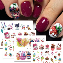 1 Sheet Water Transfer Nail Stickers Decals Fruit/Ice Cream/Cake Pattern Nail Art Stickers Wraps Manicure Decor BESTZ476-9(China)