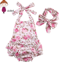 LILIGIRL Summer Newborn Baby Girl Clothes Infant Suspenders Baby Wear Jumpsuits Clothing Suit Baby Romper + Headdress 2Pcs