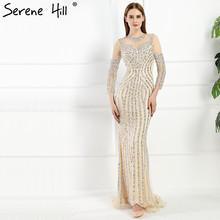 Luxury  Long sleeves  Sexy Diamond Sequined Mermaid Evening Dresses Sparkly Evening Gown Robe De Soiree 2017