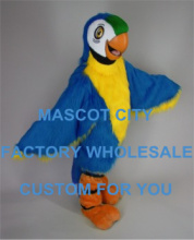 Long Hair Blue Macaw Mascot Costume Adult Size Birds Performance Advertising Mascotte Outfit Suit Fancy Dress SW555