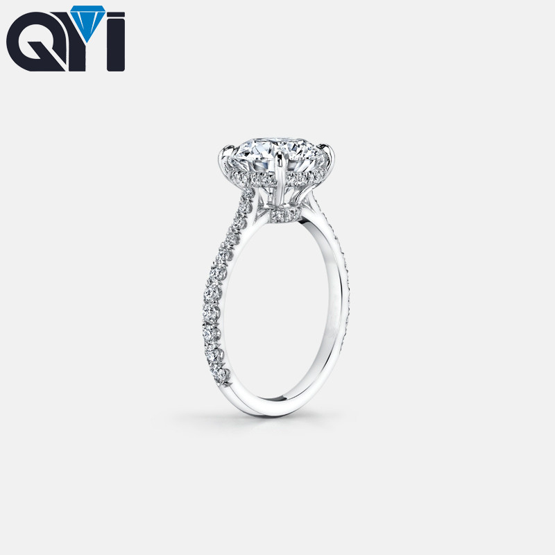 QYI 925 Sterling Silver Ring 2 Carat Round Cut SONA NSCD Engagement Ring For Women Wedding Promise Ring Bridal Jewelry