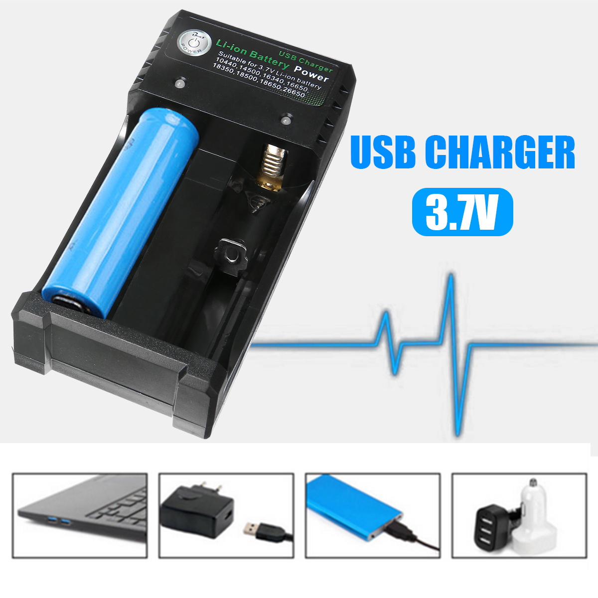 Universal Dual USB Battery Charger Chargering for Batteries 3.7V 18350 Lithium Vape 18650 16340 18500 with USB Cable