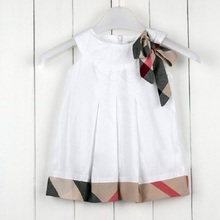 2017 Summer Baby girl Dress Cute Bow Decoration Cotton Newborn Girls Dresses 4 Colors 0-24M Baby Kids Clothes vestido infantil