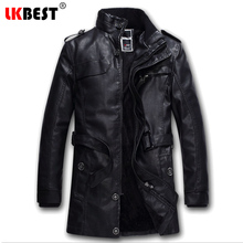 LKBEST 2017 long pilot leather jacket  BLACK thick mens leather jackets and coats winter warm wool liner PU biker jacket (PY12)
