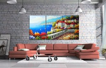 3 piece Abstract sea view Canvas Painting HD Printed Canvas Art Wall Pictures For Living Room Home Decor framed/jsyj-162(China)