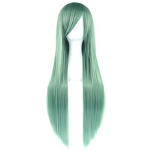 (Ship from US) Soowee 24 Colors 80cm Long Straight Wigs Green Black Party  Hair Accessories Synthetic Hair Cosplay Wig for Women 4fb4e76fc5