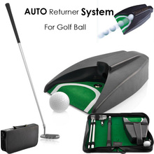 2015 New Home Indoor Office Golf Training Set Golf Auto Putting Cup Ball Return System Zinc Alloy Putter Golf Training Aids
