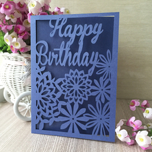 20pcs/lot Glossy Shinning Pearl paper Craft Laser Cut Flower Birthday greeting card Valentines Day gift card(China)
