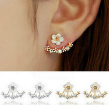 Korean Fashion Personality Small Daisy Flower After Hanging Earrings Crystal Earrings Female Earrings Jewelry Wholesale(China)