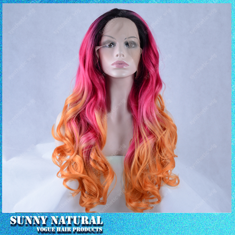 Hotselling 180density Black ombre black/pink/orange synthetic lace front wigs heat resistant cosplay ombre wig natural hairline<br><br>Aliexpress