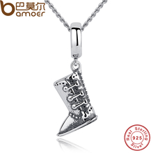 BAMOER Classic 925 Sterling Silver Boots Shoe Pendants Necklace Women Engagement Accessories CC029(China)