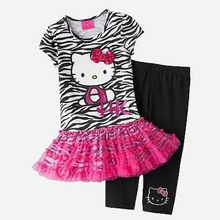 2017 summer new children's clothing girls leopard suit cute Hello Kitty cotton gauze dress + leggings piece