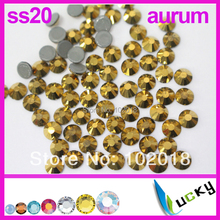 Top Quality flat back hotfix rhinestones ss6 ss10 ss16 SS20 ss30 Gold Aurum Color Iron Crystal strass super shine