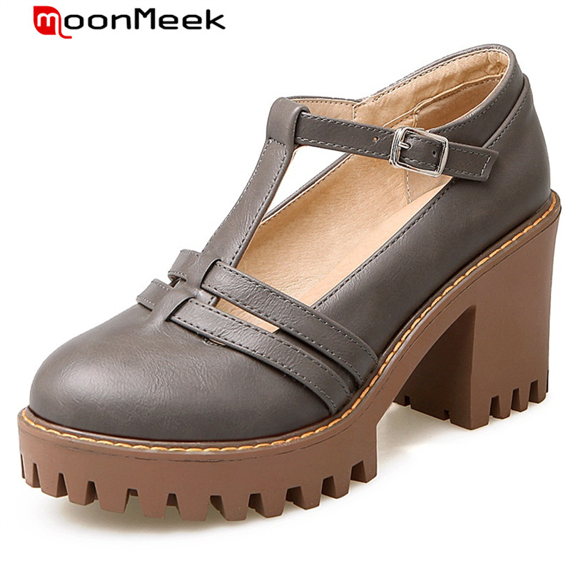 MoonMeek Fashion retro platform shoes woman buckle round toe high heels shoes big size 34-43 women pumps PU soft leather<br>