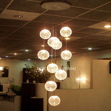 Rustic Ceiling Lights 10 Lights lustres de teto Glass  high quality Large Long Stair E14 Round Ball  High-grade light