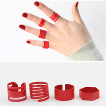 2017 Latest Fashion Punk Stackable Midi Red Ring Sets For Women Bagues Ensemble Bijoux gift Wholesale m968